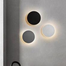 Настенные лампы, комнатный черный круглый современный светодиодный светильник для гостиной, спальни, прикроватный ночсветильник с сенсорн...