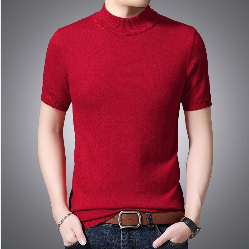 Mens Wool Shirt Short Sleeve Sweater High Quality Sexy Male Slim Shirt Knit Wool Shirts