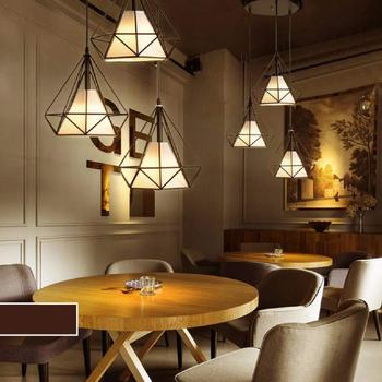 Iron Chandelier LED E27 Diamond Flush Mount Pyramid Fixture LED Down Light Ceiling Down Light White Home Decor Kitchen Bedroom