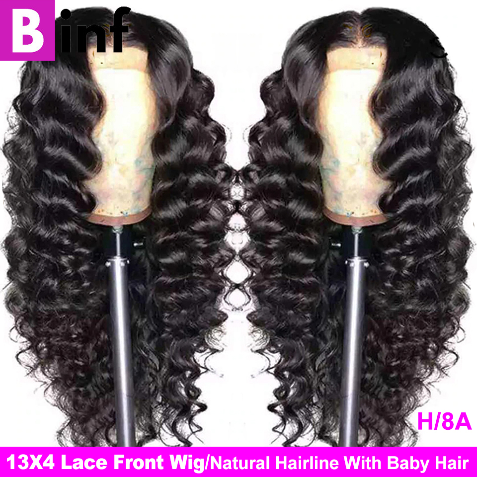 Indian Loose Deep Wave 13x4 Lace Front Human Hair Wigs For Black Women & 360 Lace Frontal Wig Pre Plucked Remy Hair Natural Wig