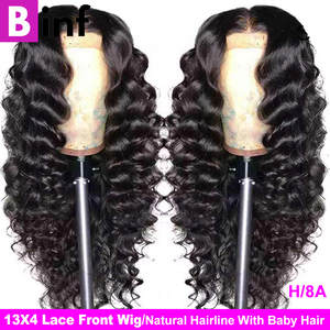 Indian Loose Deep Wave 13x4 Lace Front Human Hair Wigs For Black Women & 360 Lace Frontal Wig Pre Plucked Remy Hair Natural Wig(China)