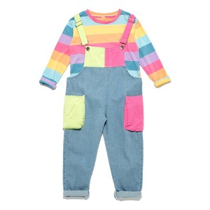 Image 5 - ילדי בגדי פסי T חולצה & סרבל בנות תלבושות סרבל ג ינס בנות חליפת ילדים מזדמנים סתיו חורף חליפות בנות