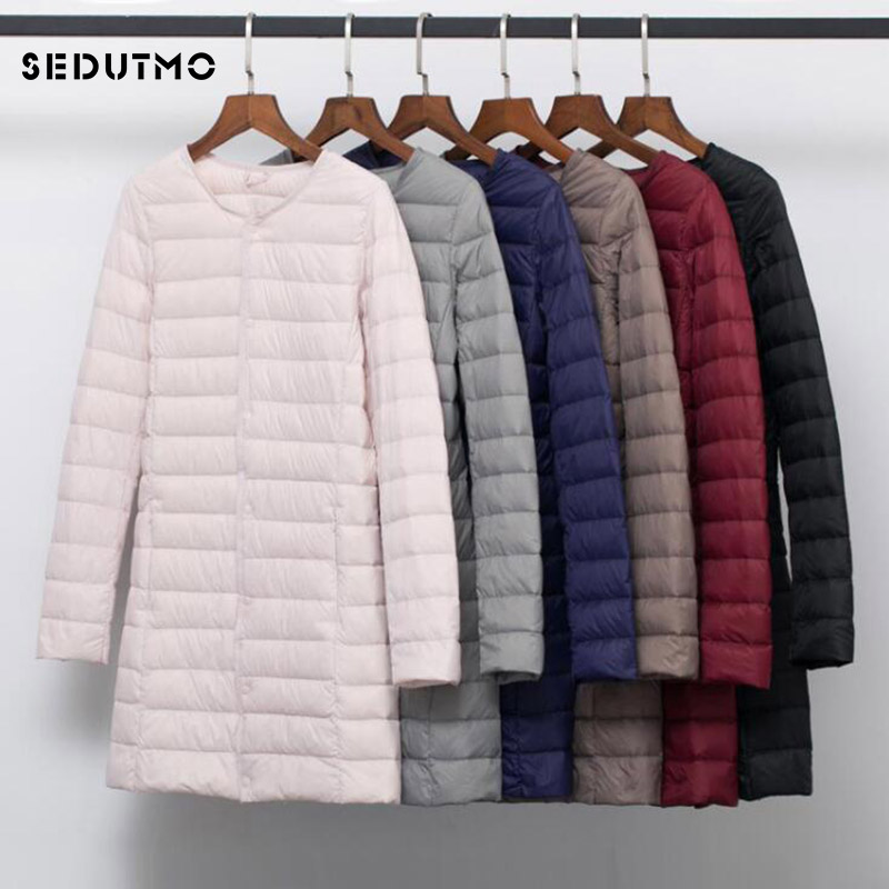SEDUTMO Winter Plus Size 4XL Women Duck Down Jackets Long Ultra Light Coat Casual Puffer Jacket Slim Black Autumn Parkas ED875