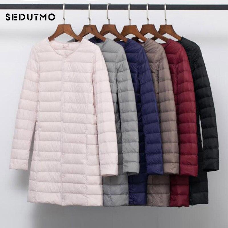 SEDUTMO Winter Plus Size 4XL Women Duck Down Jackets Long Ultra Light Coat Casual Puffer Jacket Slim Black Autumn Parkas ED875