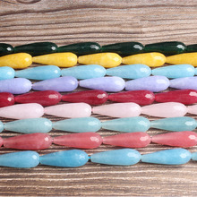 LingXiang  Fashion jewelry multicolor drop-shaped faceted chalcedony loose beads 9x14mm DIY bracelet necklace and accessories