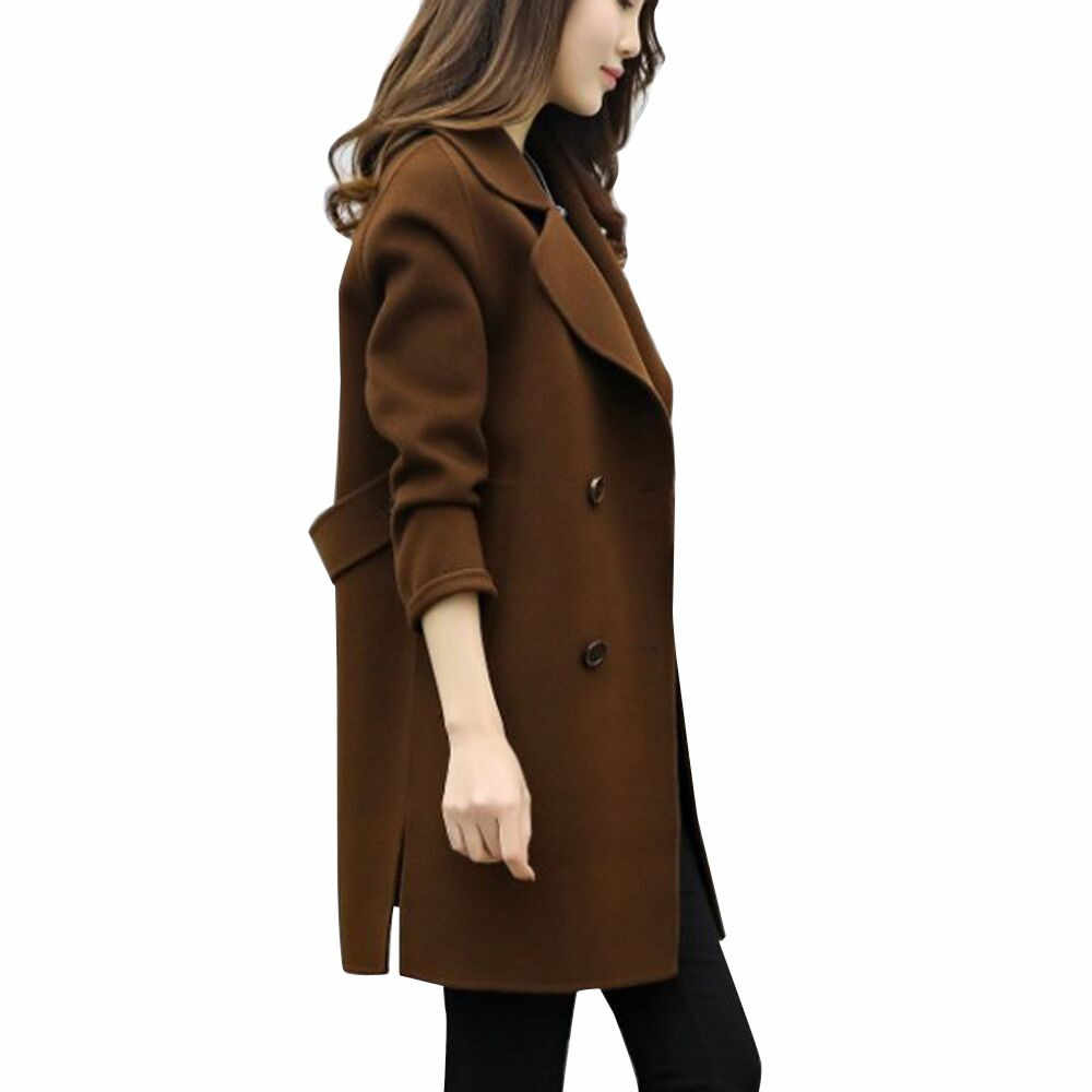 Panjang Wol Hangat Mantel Wanita Tombol Tombol Padat Wanita Panjang Hitam Mantel 2018 Musim Dingin Hangat Windproof Mantel Fashion Wanita Campuran