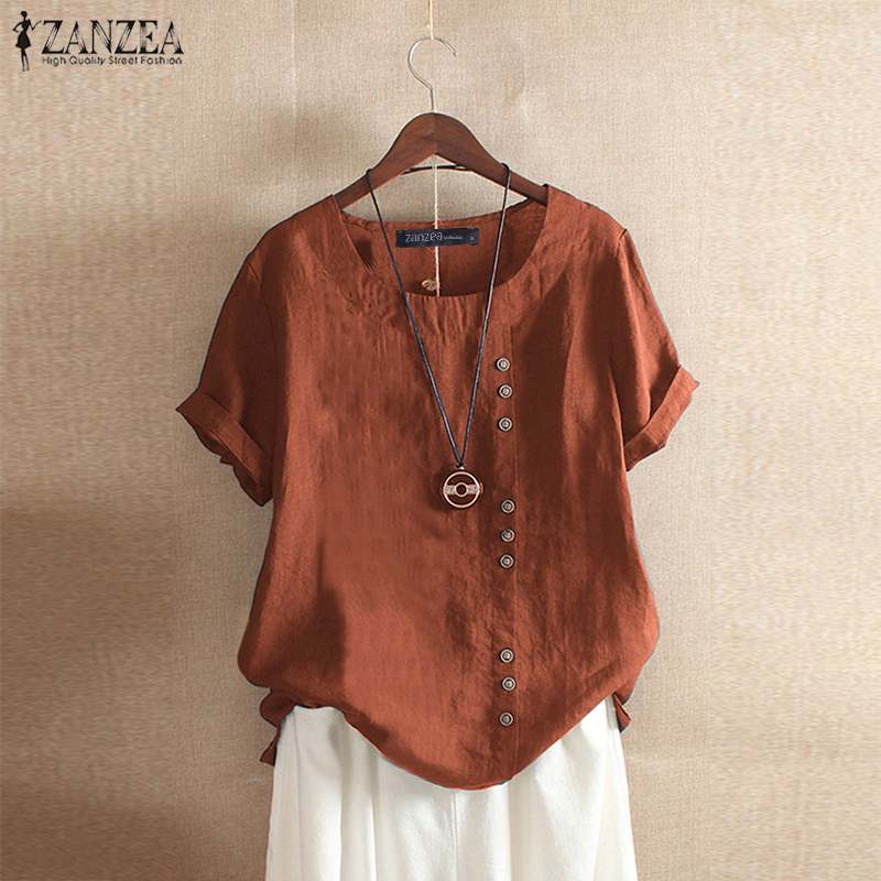 ZANZEA Summer O Neck Short Sleeve Blouse Women Cotton Linen Shirt Casual Loose Buttons Tops Femininas Blusas Work Top Chemise