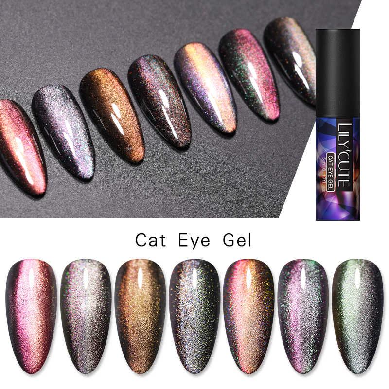 LILYCUTE 5ML 9D Bunglon Holographics Laser Bercahaya Kucing Mata Rendam Off Magnetik Paku Seni Sinar UV Gel Polandia Pernis Kuku seni Base Top