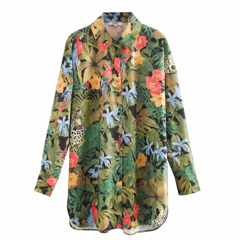 New 2020 Women Tropical Flower Leaves And Birds Print Casual Loose Smock Blouse Female Long Sleeve Shirt Chic Blusas Tops LS6609