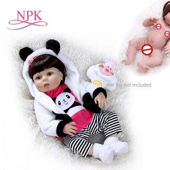 NPK 56CM toddler girl doll full body silicone 0-3M real baby size  bebe doll reborn  Bath toy Anatomically Correct