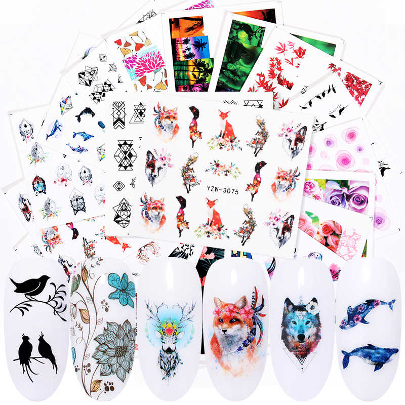 1 Vel Nail Water Decals Dieren Bloem Gemengde Patroon Transfer Sticker Nail Art Decoratie Diy Design Tool Nail Art Accessoires
