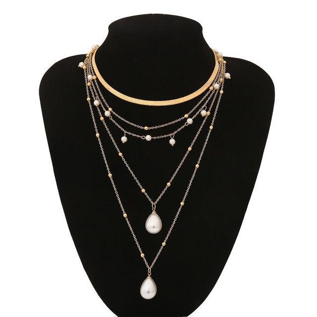 multi chain pearl  choker-necklace 2