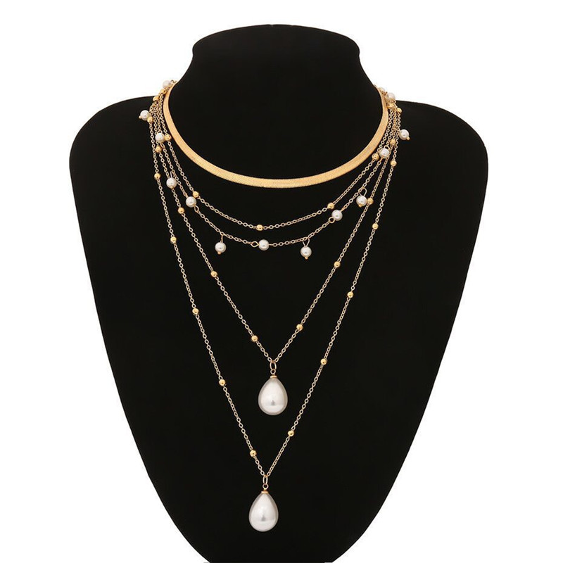 ZOSHI Bohemian Multi Layer Long Necklace for Women Imitation Pearl Choker Necklace Collars Statement Necklace Summer Jewelry