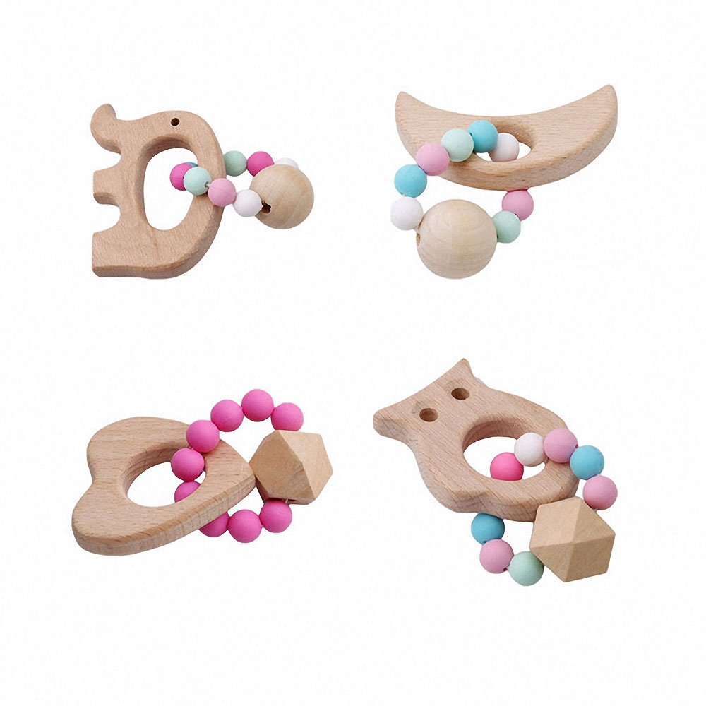 1pcs Baby Wooden Teether Bracelet Natural Wood Ring Silicone Beads Safe Toys