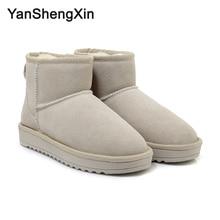 YANSHENGXIN Shoes Woman Boots Cowskin Snow Warm Wool Blended Women Winter 4 Color Classic Ankle Ladies Booties
