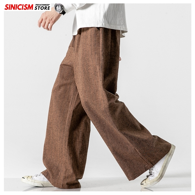 Sinicism Store Men Striped Chinese Style Wide Leg Pants Mens 2020 Japan Style Loose Trousers Male Oversize Vintage Casual Pants 18