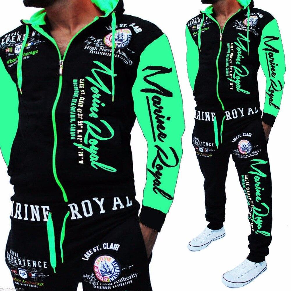 Brand  Men's Fashion Two Piece Set Men Casual Sportswear 2019 New Style Hoodies Sweatshirt&Pants Sets Letter Printed Tracksuit
