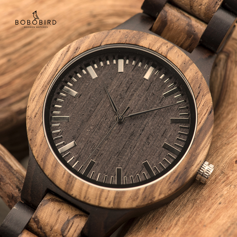 BOBO BIRD L-D30 Vintage Zebra Wood Men Watch Charm Top Sale Quartz Wristwatches Erkek Kol Saati In Gift Box