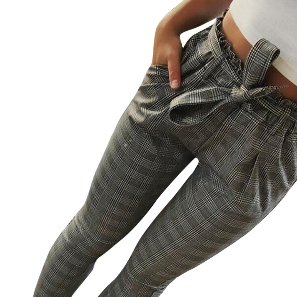 New 2019 Fashion Spring Vintage Gray Grid Casual   Pants   Women Bowtie Elastic Waist   Pants   Female Streetwear   Capris   Trousers #P5