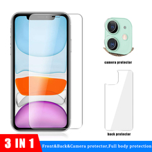 3-in-1 Front Back Glass Screen Protector For iPhone 11 Pro Max Rear camera protective glass pro