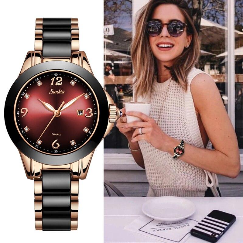 Relógios à Prova Marca de Luxo Feminino com Cerâmica e Pulseira Relojes para Mujer Relógio Feminino Sunkta Mulher Dwaterproof Água Topo Metal
