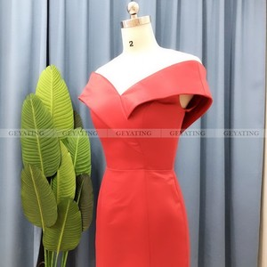 Image 4 - Robe de soirée en Satin, couleur arabe élégante, épaules dénudées, tenue de soirée élégante, style sirène, robe longue, grande taille, robe de bal dubaï