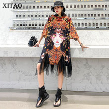 XITAO Chinese Style Personality Print Short Sleeve Women Dress Fashion Loose Plus Size Mesh Splicing Women Clothes New  XJ4434