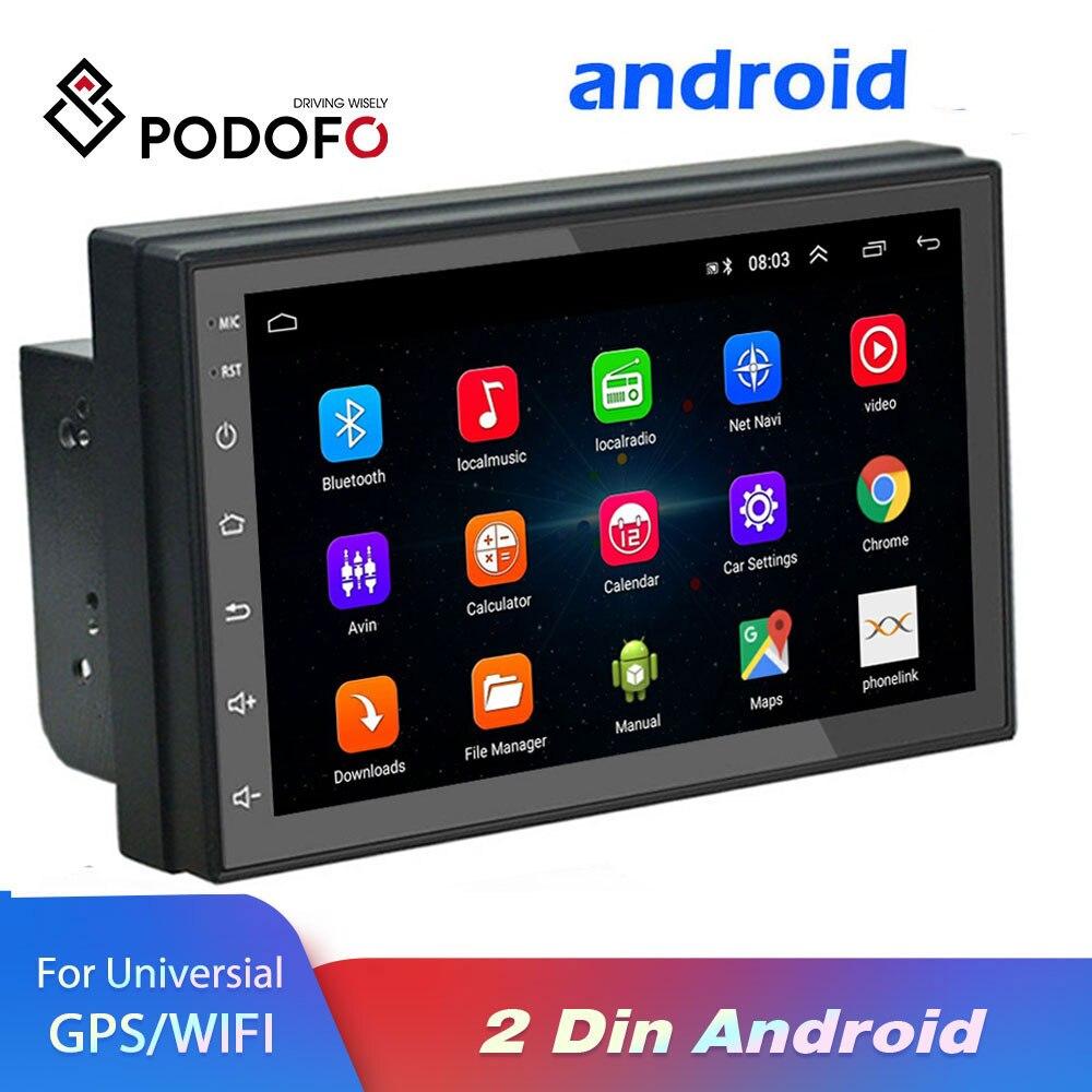 Podofo Android 2 Din autoradio multimédia lecteur vidéo universel auto stéréo GPS carte pour Volkswagen Nissan Hyundai Kia toyota