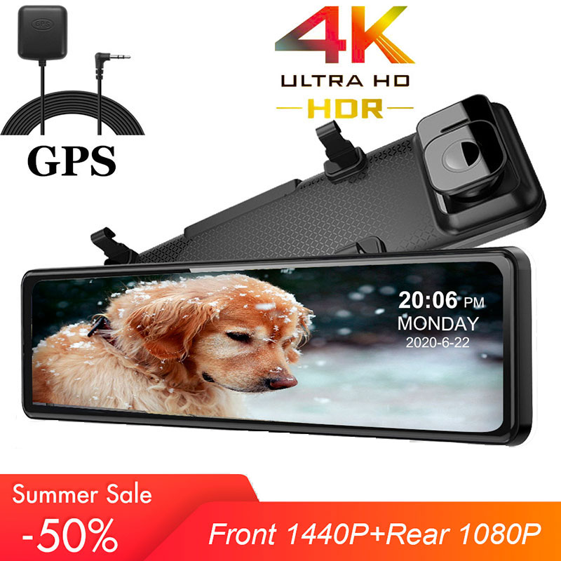 12 Inch Car DVR 1440P Stream Media Touch Screen Dash Camera Dual Lens Video Recorder Rearview Mirror 4K Backup Camera Dash Cam image