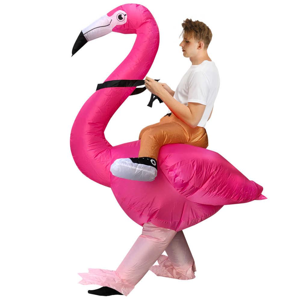 ผู้ใหญ่ Carnival COSPLAY Flamingo Inflatable เครื่องแต่งกายตลก Mascot ฮาโลวีนเครื่องแต่งกายสำหรับผู้ชายผู้หญิง STAGE Performance ชุด