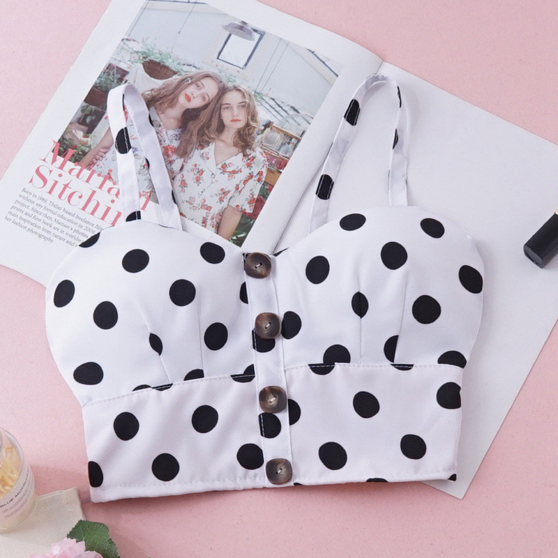 Women Summer   Tank     tops   Vintage Hot summer Polka dot Crop   top   Fashion sleeveless strappy Button Sling Vest