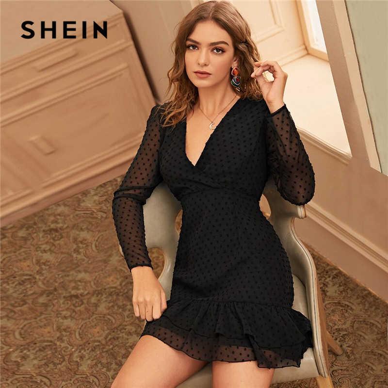 SHEIN siyah Swiss nokta Surplice ön fırfır Hem örgü elbise kadın İlkbahar yaz yüksek bel v yaka bir çizgi zarif kısa elbiseler