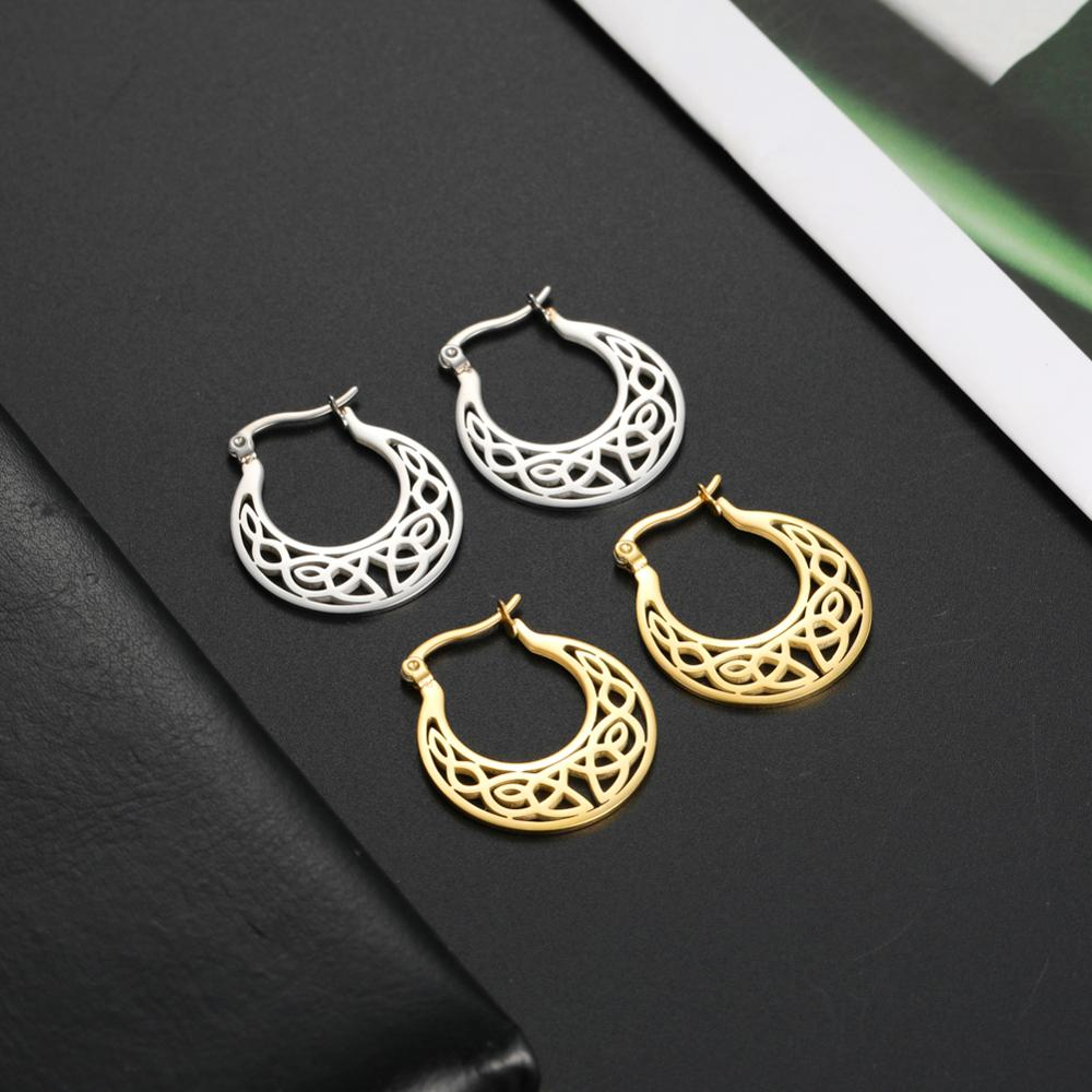 Skyrim Irish Knot Vintage Earrings for Women Girls Stainless Steel Gold Color Round Circle Hoop Earring Fashion Jewelry 2021