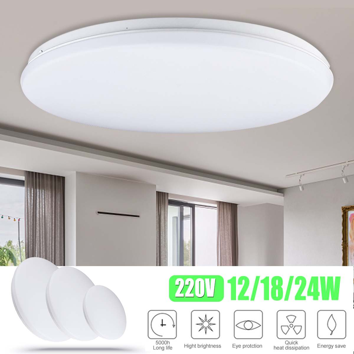 Ultra Thin LED Ceiling Light 12W/18W/24W 220V Modern Led Ceiling Lamps For Living Room Surface Mounted Led Ceiling Lighting