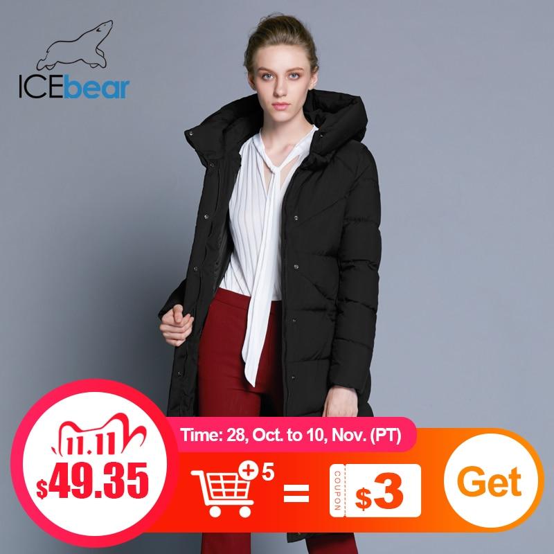 ICEbear 2020 Новинка высококачественная женская зимняя теплая куртка простой манжет дизайна ветрозащитная куртка модная фирменная женская куртка длины GWD18150|Парки| | АлиЭкспресс