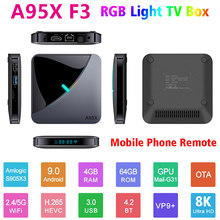 A95xf3 x3 2.4g/5g wifi rgb luz tv caixa android 9.0 netflix media player amlogic s905x3 4gb 64gb 32gb 8k 60fps a95xf3x3
