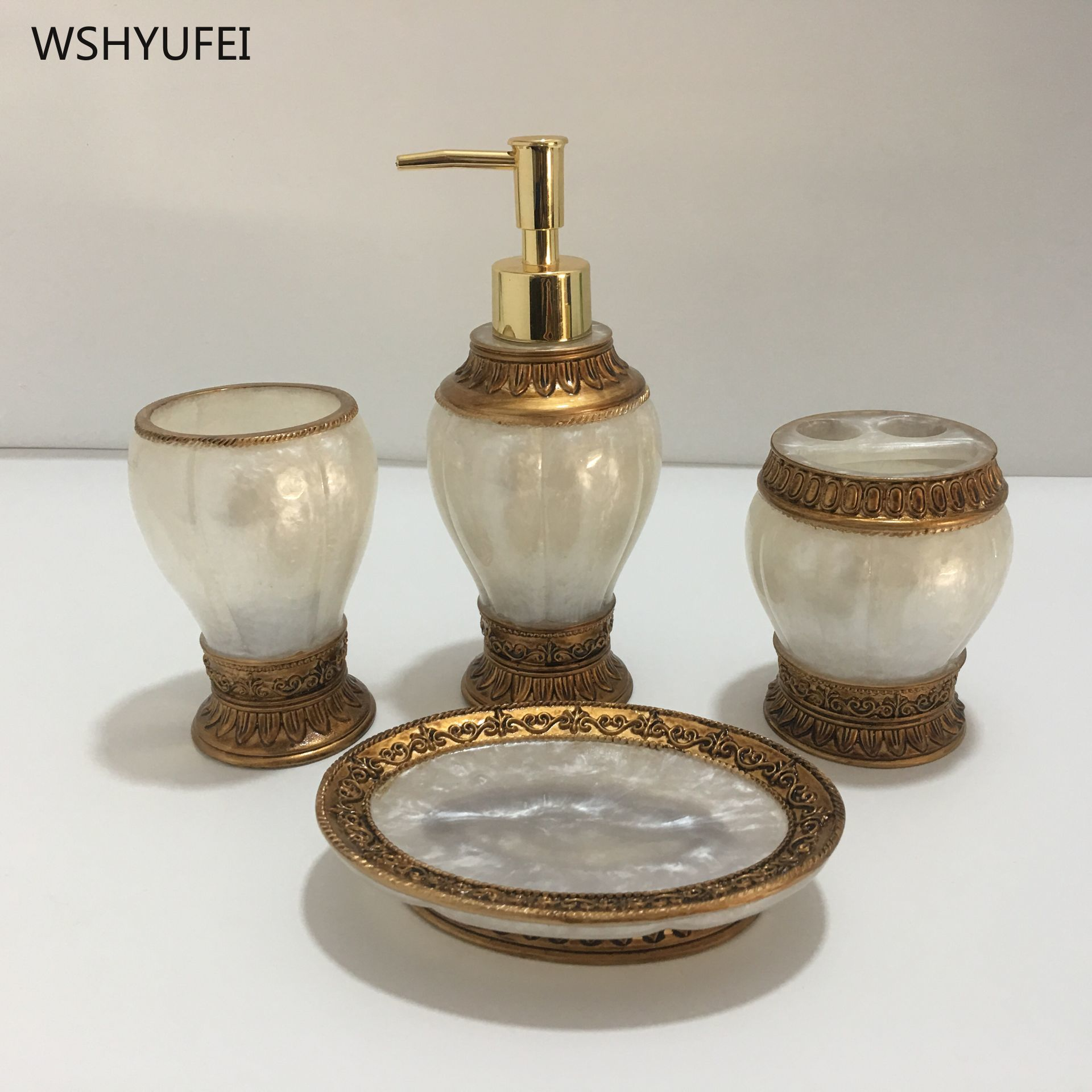 Retro white court gold accessories resin bathroom kit soap bottle soap dish toothbrush holder cup home hotel bathroom storage image
