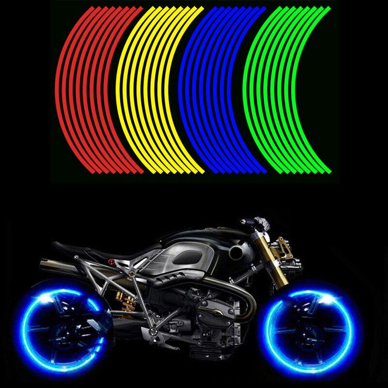 16 Pieces Universal Waterproof Motorcycle Wheel Rim Reflective Stickers Moto Bicycle Decal 17'/18' For Honda YAMAHA SUZUKI