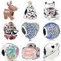 Женские браслеты-подвески Pandora, серебристые эмалированные бусины в виде лягушки, сердца, медведя, платья деда мороза, ювелирные изделия для ...