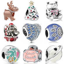 New Arrived Silver Color Frog Hearts Bear Dress Santa Claus Enamel Beads Fit Pandora Charms Bracelets for Women DIY Jewelry Gift(China)