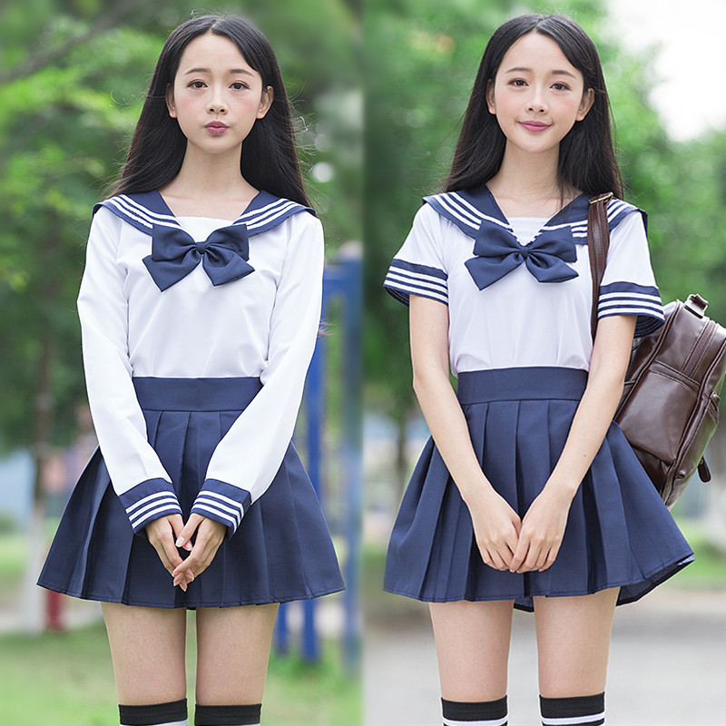 2020 Japanese School Uniform Seifuku School Dress Uniform Girl Women Sailor Suit Long Sleeve Jk School Uniforms Full Sets