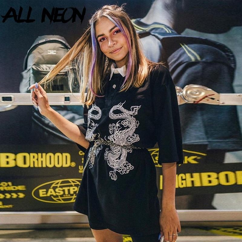 ALLNeon-camisetas Punk para mujer, camisetas con estampado Animal y cuello vuelto, camisetas de media manga, Tops negros holgados Harajuku, trajes Y2K