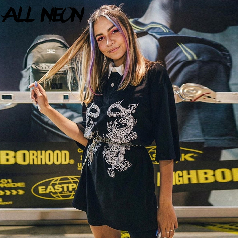 Allneon Black Tops Outfits T-Shirts Collar Half-Sleeve Animal Harajuku Punk Printing