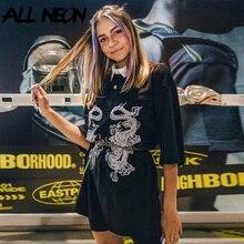 ALLNeon Punk T-shirts Women Animal Printing Turn Down Collar Half Sleeve T Shirts Harajuku Loosed Black Tops  E-girl Outfits Y2K
