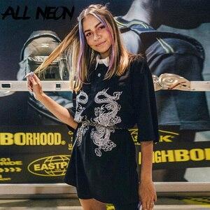 ALLNeon Punk T-shirts Women Animal Printing Turn Down Collar Half Sleeve T Shirts Harajuku Loosed Black Tops E-girl Outfits Y2K(China)