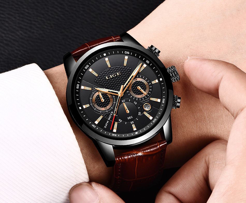 Hfcb65cdd3c5f46abb074dcaedbedecb86 LIGE New Men Watch Top Brand Blue Leather Chronograph Waterproof Sport Automatic Date Quartz Watches For Mens Relogio Masculino