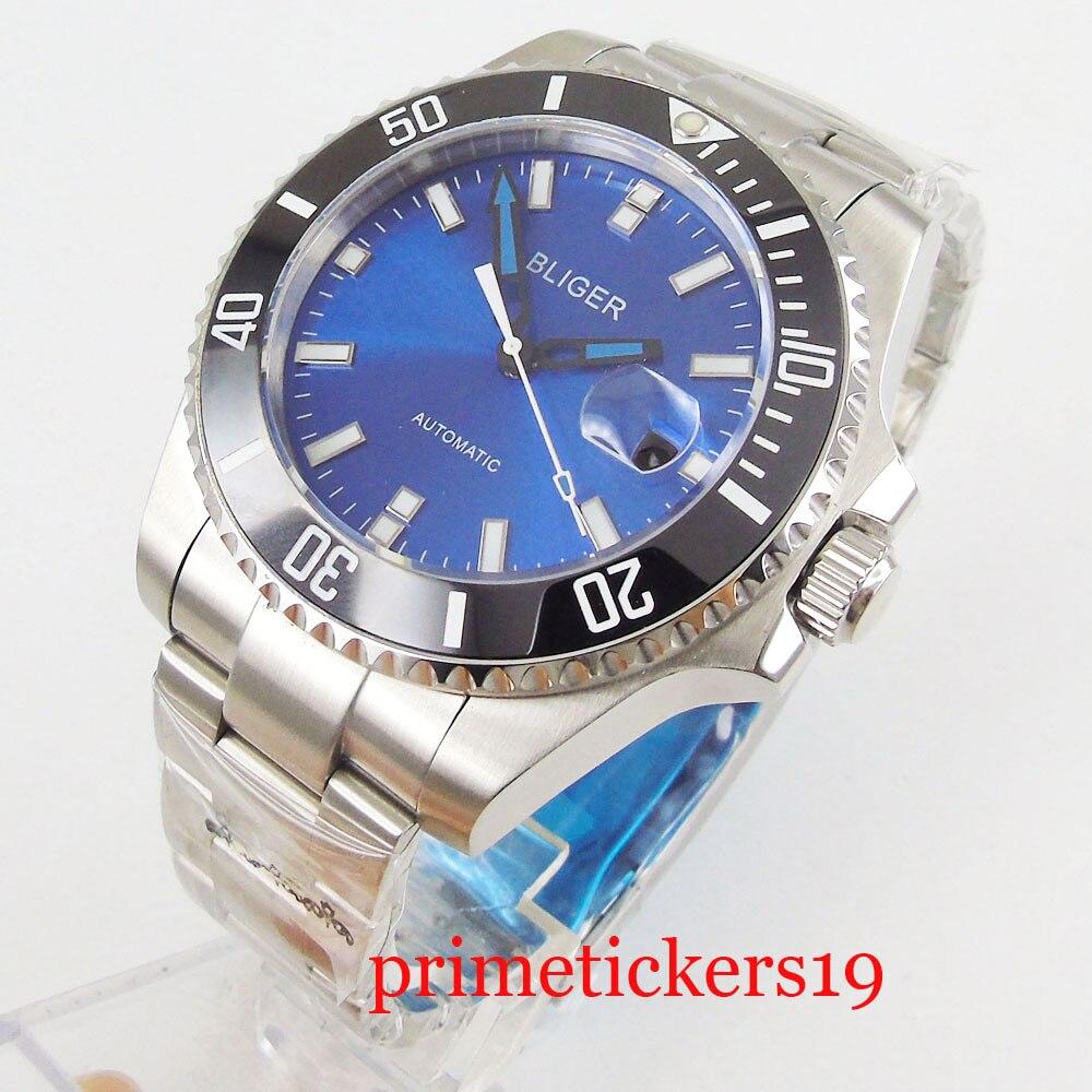 Black ceramic bezel 43mm bliger blue dial date sapphire glass automatic movement mens watch
