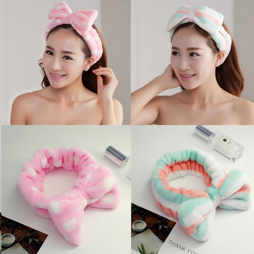 Bow Knot Soft Hairband Cute Women Girl Cross Headband  Hair Wrap For Wash Face Makeup Lady Bath Mask Cosmetic Elastic Hairband