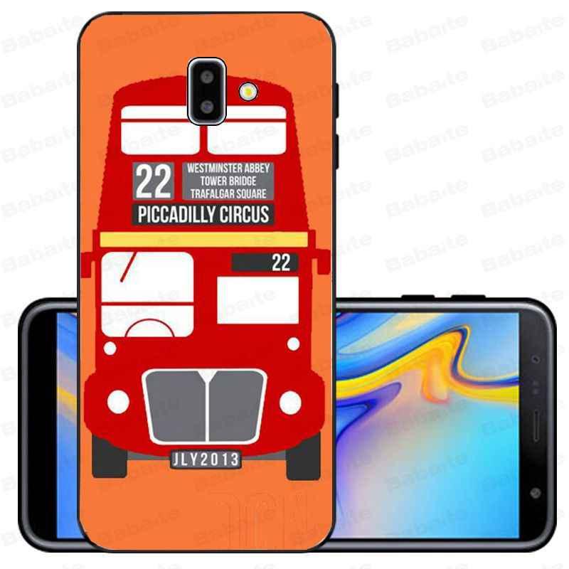 Ônibus de londres inglaterra Preto telefone TPU Macio Tampa Do Telefone de silicone Para samsung galáxia J6 plus A6 A8 A9 A10 A30 a50 Casos Móveis