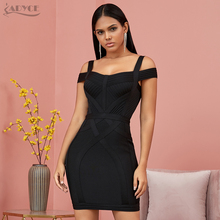 ADYCE 2020 New Off Shoulder Bodycon Bandage Dress Women Vestido Sexy V Neck Spaghetti Strap Club Celebrity Evening Party Dress